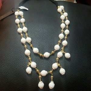 Seed bead ball crystal necklace